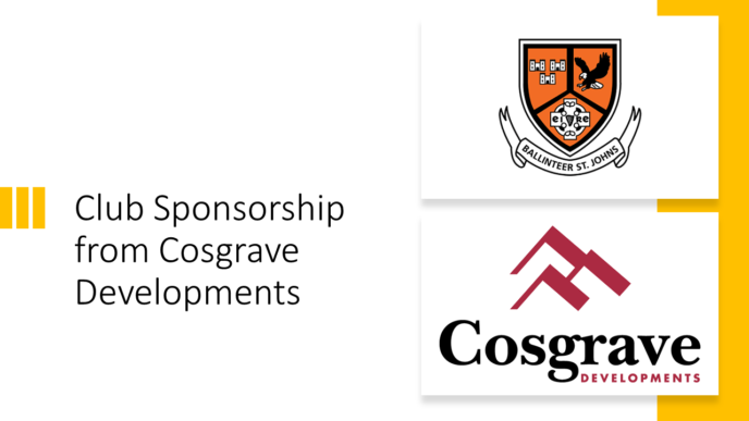 Cosgrave Developments come on board as Club Sponsors